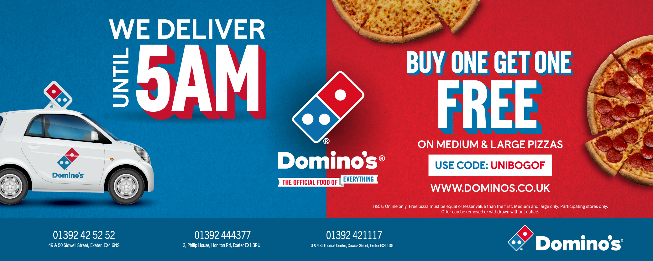 Dominos Exeter for Students