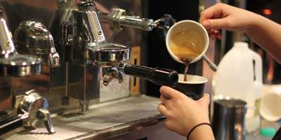 A picture of coffee being poured